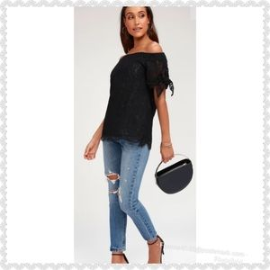 "NEW Lulu's ""Ethereal View"" Black Lace Top"
